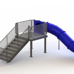 133403 Single Angle Flume Water Slide Right Stair