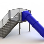 133420 Single Straight Flume Water Slide Right Stair