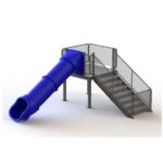 133502 Single Straight Flume Water Slide Left Stair
