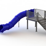 133510 Single Angle Flume Water Slide  Left Stair