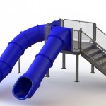 133512 Double Flume Water Slide Left Stair