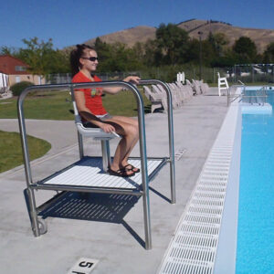 The Torrey II lifeguard platform is readily moveable and enables the lifeguards a rapid exit while maintaining an excellent line of sight. It also eliminates the hazards associated with elevated platforms. Rescue tube holder and umbrella mounting bracket included.