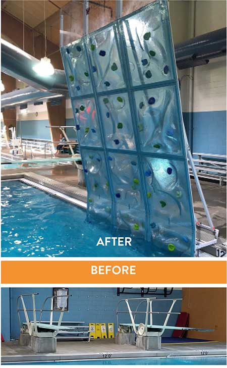 converting diving well to pool climbing wall